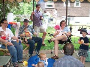 (clockwise from the left) Melanie, Walter, Ruben, Sophie, Jeff, Kristin, Mike, Aaron, Sophia, Stephanie, Burke, Alex's head, Logan
