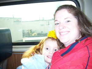 Mommy and Maggie on the Train