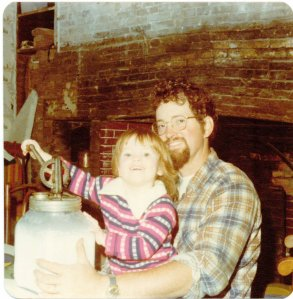 Nancy and Daddy Churning Butter