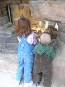 Maggie and Logan checking the snake out