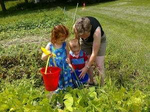 Picking Beans: Maggie, Logan, Nana