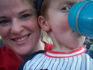 (Mommy and) Burke at a baseball game