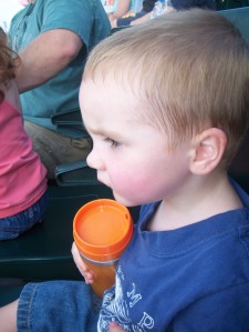 Logan at the baseball game