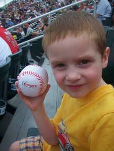 Mommy caught a (very soft, thrown by an entertainer) ball for Burke