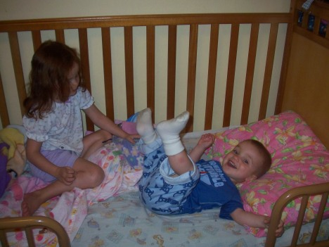 Logan in Marjorie's Bed 8.18.2009