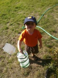 Logan Borrowed Mommy's Fishful Thinking Hat